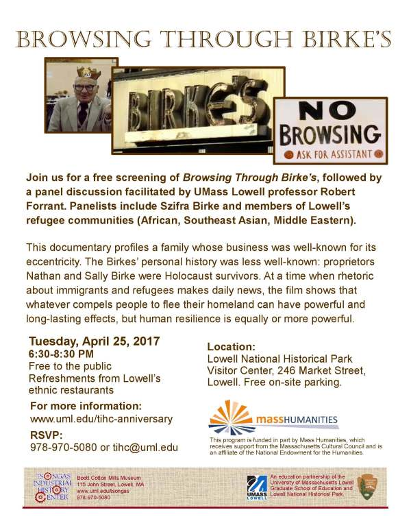 flyer Tsongas Industrial History Center presents Browsing Through Birke's April 25, 2017